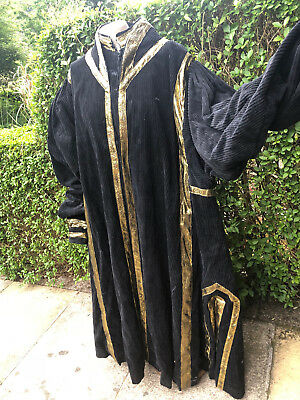 Opera coat, cloak, very large black Corderoy with gold detail
