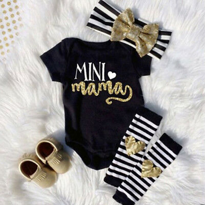 3PCS Newborn Infant Baby Girl Outfits Clothes Set Romper Bodysuit+Pants Leggings