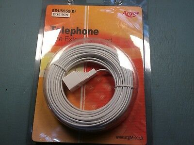 NEW 10M BT Landline Telephone Extension Cable Lead for Phone Fax Modem Broadband