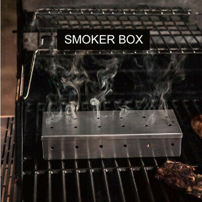 Stainless Steel Meat Barbecue Smoking Smoker Box on Gas Charcoal Grill