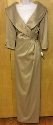 JESSICA HOWARD 10 GOWN Champagne GOLD Stretch SATIN Portrait Collar MOB Classic