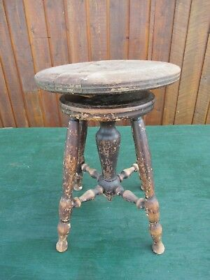 GREAT OLD Wood PIANO STOOL Adjustable Height Beautiful Legs OTTERVILLE CANADA