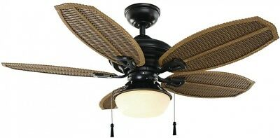 Hampton bay 48 in natural iron outdoor ceiling fan wicker island hampton bay palm beach iii 48 in led indooroutdoor natural iron ceiling fan aloadofball Image collections