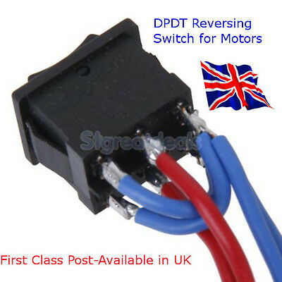 DPDT Wired Switch for Reversing DC Motor, Car Truck Motorhome Available in UK