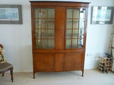 Elegant Inlaid Antique China Display Cabinet, bow fronted