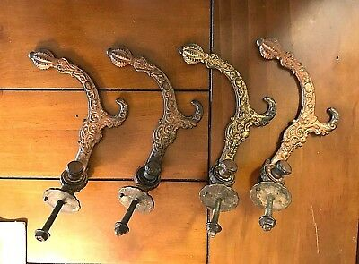Set Of 4 Old Cast Iron Coat & Hat Hooks-Original Parts Including Mounting Bolts