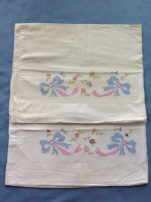Vintage Hand Embroidered Pillow Cases - Cross Stitch & Flowers - Set 2