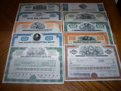 Lot of 10 Different Stock Certificates.Nice Vignettes.TL3