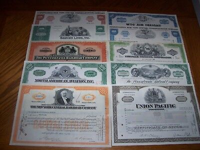Lot of 10 Different Transportation Stock Certificates. Rail, Ship, Auoto. T1