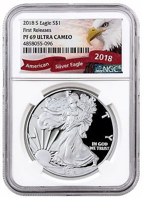 2018-S 1 oz. Proof American Silver Eagle $1 NGC PF69 UC FR Eagle Label SKU55157