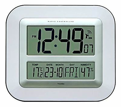 Jumbo LCD Radio Controlled Wall Clock with Temperature and Humidity display ( UK