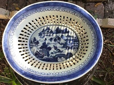 Antique Chinese Export Blue And White Canton Reticulated Basket And Underplate.