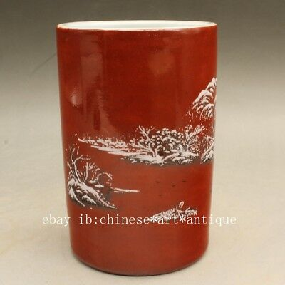 Chinese old famille rose porcelain snow-covered landscape brush pot  c02