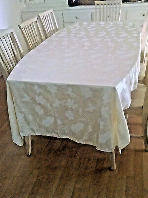 VINTAGE Linen Tablecloth LARGE 120 x 60-Satin Silky type finish-Roses LT YELLOW
