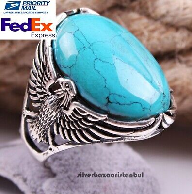 Turkish Jewelry Turquoise Stone 925 Sterling Silver Mens Mans Ring US ALL SİZE 0