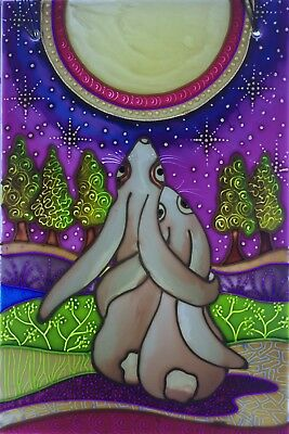 """Moon gazing Hares"" Original hand painted Stained Glass panels and splashbacks"