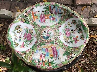 """10"""" Chinese Rose Canton Hand Painted Plate Famille Rose Pallette"""