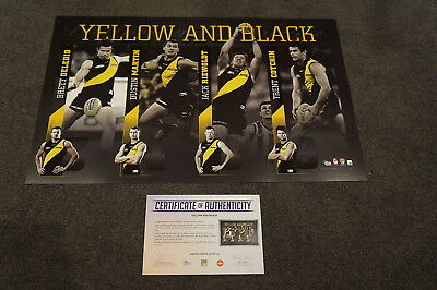 Yellow and Black Richmond Four Player AFL Official Print Cotchin Martin Riewoldt