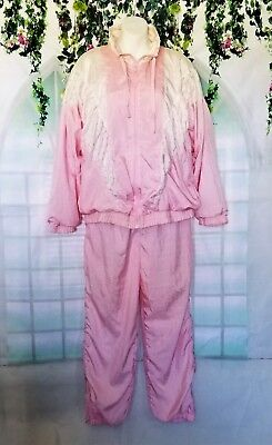 Awesome! Women's Vintage Pink And White Poke-A-Dot Track Suit / Windbreaker