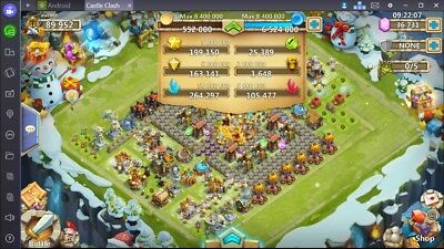 Castle Clash Account Android US-Server 89k Might !! 36.700 Gems (150$)!!