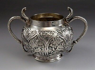 Striking late 1800s Indian Silver Double Handle King Cobra Sugar Bowl