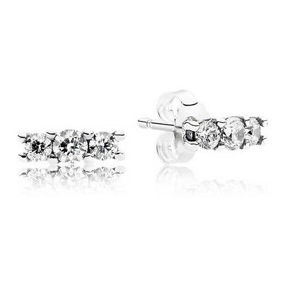 New Authentic Pandora Sterling Silver Sparkling Elegance Stud Earrings 290725CZ