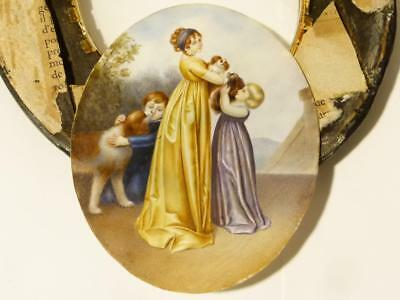 Antique Portrait Miniature Lady 2 Kids 3 King Charles Spaniels & Signed Andre *