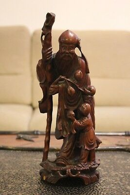 Antique Chinese Carved Hardwood Sage Figurine