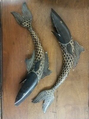 OUTSTANDING!!! VINTAGE  1970's BULL HORN CARVED LARGE FISH FIGURINES!!!