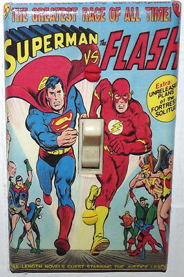 Superman vs Flash Light Switch Cover Plate - Justice League FREE SHIPPING