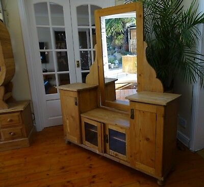 Beautiful Antique Pine Rustic Country Farmhouse Dressing Table and Mirror