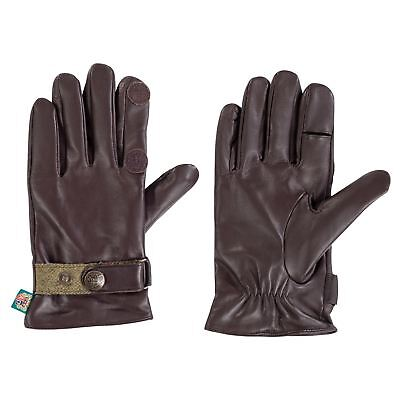 Alan Paine Mens Water Resistant Leather Gloves - Brown/Sage