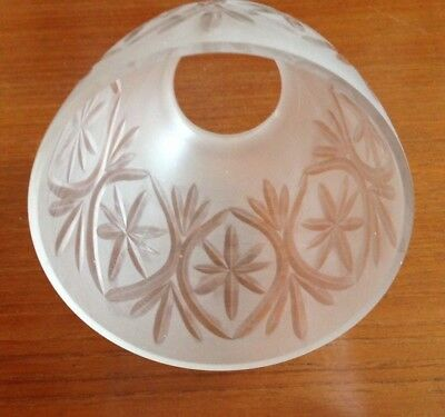 Antique Vintage Frosted Glass Cut Star Lamp Light Shade