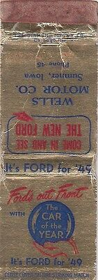 1949 Ford Car Matchcover!!  2 Digit Phone Numberl!  Sumner, Iowa!   Free Ship!