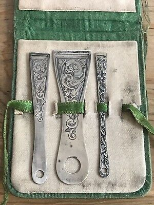 STERLING SILVER Antique Sewing RIBBON THREADERS Kit Set of 3 Pieces