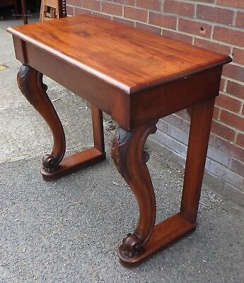 William IV antique figured Cuban mahogany 1 drawer pier console hall side table