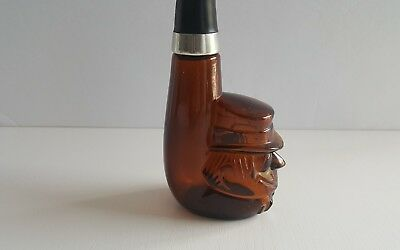 Vintage Avon pipe shaped glass brown perfume bottle empty