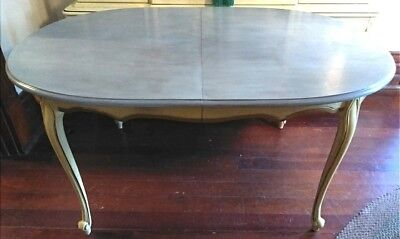 Gorgeous Vintage French Provincial French Country Dining Table Ivory & Gilt...