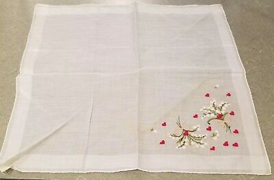 """Vintage Embroidered Handkerchief 14"""" Valentines Lilies of the Valley Hearts"""
