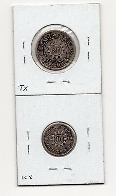 1928 China Fukien 20 and 10 Cents Silver Coin, Rare!!!
