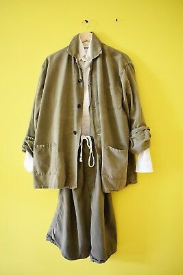 vtg soft washed army military chore jacket set suit pants romper OS rare swiss?