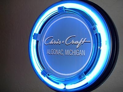 ^^^Chris Craft Wood Boat Yacht Garage Advertising Man Cave Blue Neon Sign