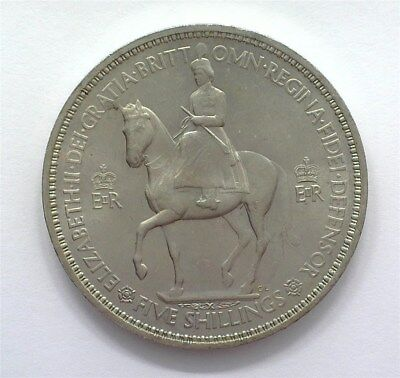 Great Britain 1953 Silver 5 Shillings Gem+ Uncirculated Y#125