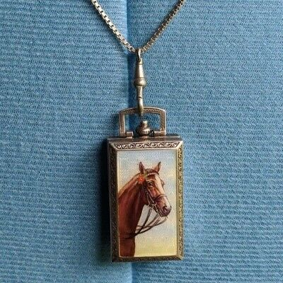Sterling Silver Handpainted Horse Enameled Vallette Deco Travel Watch Pendant