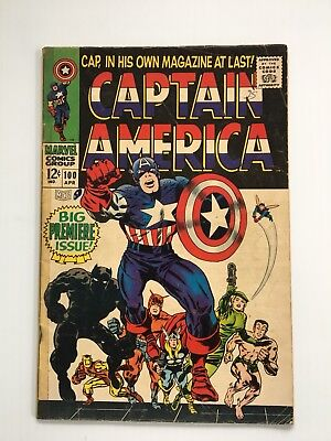 Captain America # 100. 1st solo comic. Vintage. Silver Age. 1968. Marvel. VG