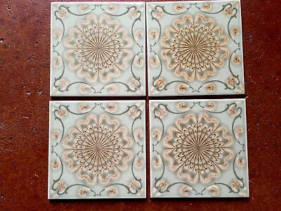"Lot ~4 Vintage 60's MCM~SIENA, ITALY Tiles Medallion~Moss/Brown/Ivory~6"" EXC"