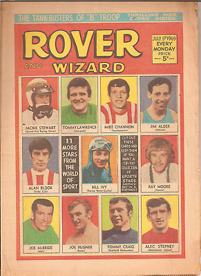 ROVER AND WIZARD,JULY 5th,1969:SPORTS STARS FRONT COVER,BRADDOCK,TANKBUSTERS