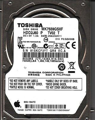 FOR DATA RECOVERY Toshiba MK6475GSX HDD2L02 2403 BAD SECTORS