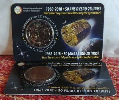 "2X2€ Belgium 2018 ""satellite ESRO-2B"" Coin Cards(French +Dutch Version)"