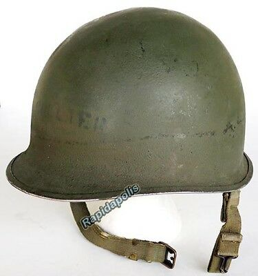 Genuine Early NAMED WW2 American Front Seam Fixed Bail M1 Steel HELMET
